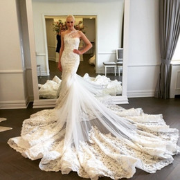 Wholesale One Shoulder Cathedral Train - 2017 Sexy Lace Cathedral Wedding Dresses One Shoulder Appliques Tulle Custom Made Backless Wedding Gowns With Long Train Bridal Dresses