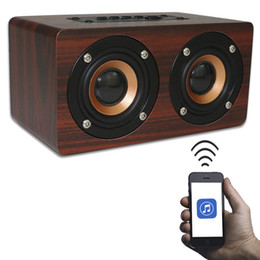 Wholesale Retro Wireless Phone - Wholesale- Wooden Portable Bluetooth Speaker Wireless Retro Enceinte Bluetooth Speaker 3D Dual Loudspeaker Surround Mini Support TF Card