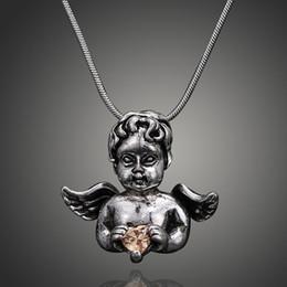 Бесплатная доставка супер красивый маленький ангел с крыльями любовь драгоценный камень ожерелье мода Шарм ожерелье праздничные подарки от Поставщики супер ангелы