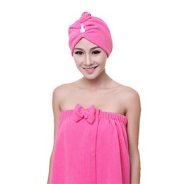 Wholesale First Clean - Wholesale- 1PC Fashion Women Absorbent Microfiber Towel Turban Hair-Drying Cap Bathrobe Hat quality first