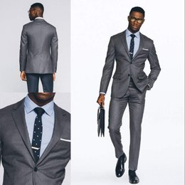 Wholesale Slim Suits For Cheap - Fashion Grey Wedding Tuxedos Slim Fit Suits For Men Groomsmen Suit Two Pieces Cheap Prom Formal Suits(Jacket+Pants)