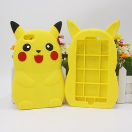Wholesale S3 Cartoon - Anime Cartoon 3D Pikachu Cute Silicone Back Cover Phone Case For iPhone 5 5S SE 6 6S Plus Samsung S3 S4 S5 S6 S7 S7EDGE Note 3 4 5 7 Note7