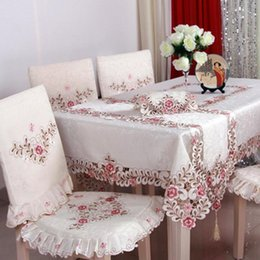 Wholesale Floral Tablecloths - BZ320 European Luxury Polyester Embroidery Floral Tablecloth Hotel Home Wedding Party Lace Edge Table Cover Decorative Hot Sale