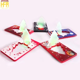 Wholesale Lighting Folding - Creative Christmas Cards Thin Card Light LED Christmas Tree Flashing Gifts Greeting Cards Folding Pocket Card LED Light
