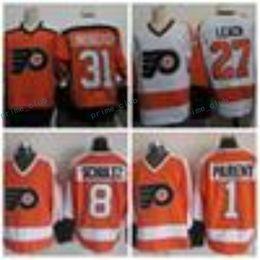 Wholesale Parent Jersey - Vintage Philadelphia Flyers Hockey Jerseys 27 Reggie Leach 31 Pelle Lindbergh 1 Bernie Parent 8 Dave Schultz Throwback Stitched Ice Jerseys