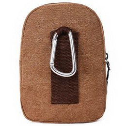 Wholesale Utility Canvas Bags - Men Utility Fanny Packs Canvas Metal Carabiner Clock Clip Waist Pack Small Bum Bags Sports Outdoor Phone Bag Purse Pouch With Belt Loop