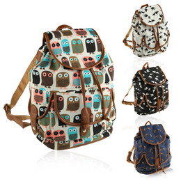 Wholesale Ladies Leather Drawstring Bag - Wholesale- Fashion Animal Printed Women Canvas Backpacks Leather Shoulder Drawstring Rucksack School Bag for Teenager Girl Ladies Backpack
