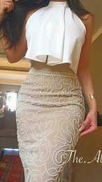 Wholesale Tea Length Skirt Top - 2017 Two Toned Sheath Party Dresses High Neck Ruffled Top Beaded Skirt with Split Prom Gowns