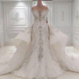 Wholesale Dress Crystal Embroidery Mermaid - Luxury Crystal Wedding Dresses Dubai Mermaid Sparkly Plus Size Bridal Gowns Sweetheart Off Shoulder Beaded Appliques Detachable Train