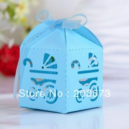 Wholesale More Lasers - Wholesale- Laser Cut Carriage Favor Box Baby box Laser Cut Baby Shower Favor Boxes For Baby Show Party 12pcs More Colors