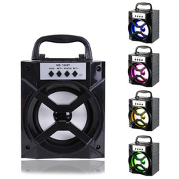Wholesale Radio Power Music - Portable Bluetooth Speakers With Led Light High Power Output FM Radio Wireless Bluetooth Speaker Strong Bass TF Card Music Box Player