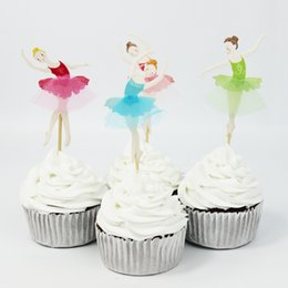 Wholesale birthday party supplies themes - Wholesale-72pcs Ballet Girl Theme Party Supplies Cartoon Cupcake Toppers Pick Kid Birthday Party Decorations