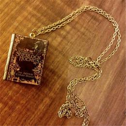 Wholesale Antiques Books - 12pcs pcs Sherlock Holmes Book Locket jewelry Bronze antique jewelry