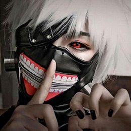 Wholesale Anime Props - Tokyo Ghoul Mask Scary Mascaras Halloween Masks Cosplay Kaneki Ken Degreasing Cotton Mask PU Party Prop Anime Horror Mask