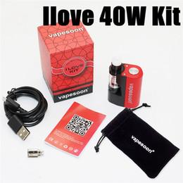 Wholesale Electronics World - Original Vapesoon ilove kit 40W Electronic Cigarette Vaporizer Kit Sub ohm 0.5ohm 1100mAh Box Mod Smallest Vapebox in the world VS icare min