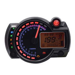Wholesale Universal Digital Speedometer - Universal 12V CS - 342 Multi-functional Motorcycle Motorbike LCD Digital Instrument Speedometer Odometer Motor Bike Tachometer 181604401