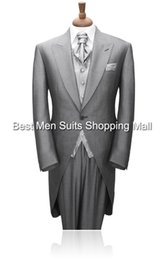 Wholesale Mens Suits Tails - Wholesale- Grey Tailcoat Groom Wedding TUXEDOS,Men,mens suits with pants Groom suit 2015 Long Tail tuxedo(Jacket+PantsVestTie)Prom Clothing