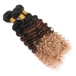 Wholesale Wavy Ombre Weave - 8A Ombre Brazilian Deep Wave virgin hair weave 3 bundles Wet And Wavy Brazilian Hair 1b 4 27 Honey Blonde weave Human Hair
