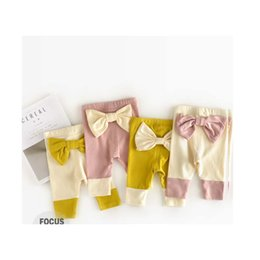 Wholesale Gradient Color Leggings - 2017 Christmas Kid Girl Leggings Loose Cotton Long Pants With Cute Bows Baby Autumn Cloths Bodysuit