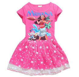 Wholesale Spandex Shorts For Kids - Girls Dress Summer 2017 Girls Ball Gown Party Princess Dress Cartoon Print Moana Princess Costume Kids Dresses For Girls Clothes