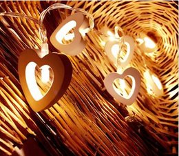 Wholesale Heart Shaped Ornament - New 10 LED Warm Wooden Heart Shape String Fairy Lights For Christmas Xmas Wedding Decoration Party Valentine's Day Decoration
