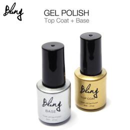 Wholesale Professional Uv Gel Manicure Kit - Wholesale- 2Pcs Lot 6ml Bling Soak Off UV Nail Gel Polish Primer Base Coat + Top Coat Nails Gel Nail Art Manicure Professional Kit UV Lamp