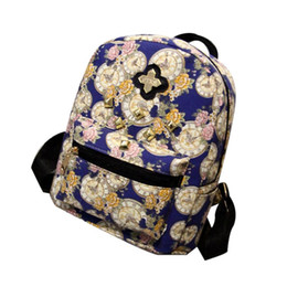 Wholesale Dropshipping Clock - Wholesale- Women Fashion Backpack Clock Flowers Canvas Bag Best Gift Dropshipping Jan5