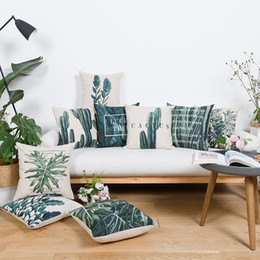 Wholesale Browns Plains Hotel - Free shipping beautiful tropical plant cactus lucky tree leaves pattern linen cushion cover home cafe hotel decorative throw pillow Case