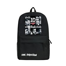 Wholesale Plain Red Fan - Cartoon Style One Direction Backpack Khaki Color Or Black Oxford Bag 1D Backpacks Singer Shoulder Bags for Fans Students School Bag