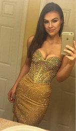 Wholesale Green Strapless Bodycon Dress - Bodycon Short Sexy Cocktail Dress Gold Beaded Sequined Strapless Sweetheart Neckline Backless Vintage Prom Dress 2017