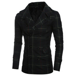 Wholesale Classic British Coats - Trench Coat Men Classic Double Breasted Trench Coat Men's Masculino Clothing Mens Plaid Slim Long Jackets&Coats British Style Hoody Overcoat