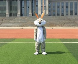 Wholesale Gray Easter Bunny Costume - wholesale PROFESSIONAL EASTER BUNNY MASCOT COSTUME Bugs gray Rabbit Hare Adult Fancy Dress Cartoon Suit Fancy Dress