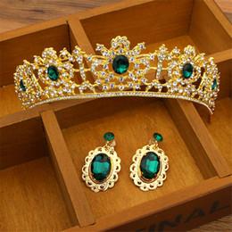 Wholesale Red Bridal Tiara Sets - Vintage Wedding Bridal Green Red Crown Crystal Rhinestone Tiara Hair Accessories Headpiece Headband Earrings Jewelry Set Princess Headdress
