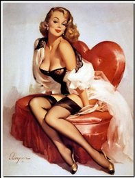 Wholesale Nude Girl Abstract Art Paint - Framed GIL ELVGREN Love Seat Heart,Pure Handpainted Pinup Girl Art Oil Painting On Quality Canvas Multi Sizes Free Shipping Pin076