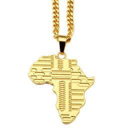 Wholesale Crystal Map - Trendy 18K Gold Map Of Africa Pendant Necklaces Original Men Jewelry Hip Hop Hipster Long Chain Necklace Jewellery Collier