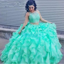 Wholesale Turquoise Corset Prom Dresses - Two Piece Lace Turquoise Quinceanera Dresses With Beaded Crystal Organza Ball Gowns Sweet 16 Gowns Corset Formal Dress for 15 Year Prom