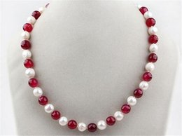 Wholesale Ruby Beads Round - FREE SHIPPING>>HOT!7-8mm White Freshwater Pearl and Red 8mm Ruby Round Beads Necklace 18""