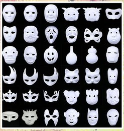 Wholesale Plain Paper Masquerade Masks - Wholesale 58 Styles White Unpainted Face Mask Plain Blank Version Paper Pulp Mask DIY Masquerade Masque Mask