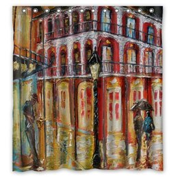 """Wholesale french pattern fabric - Custom New Orleans French Quarter Pattern Design Waterproof Polyester Fabric Shower Curtain,Bathroom decor 66""""x72"""""""