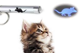 Anello chiave del puntatore laser online-Creativo e divertente Pet giocattoli giocattoli LED Laser Pointer Light Pen con animazione brillante Mouse Pesce modello Paw Ring 50pc h104