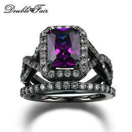 Wholesale Purple Wedding Diamonds - Purple CZ Diamond Fashion Rings Sets Black Gold Color Punk Style Square Cut Crystal Engagement Jewelry Wedding Rings For Women DFR480