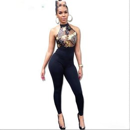 Wholesale Sexy Black Halter Transparent - Women Sequin Embroidery Rompers Elegant Halter Backless Bodycon Long Bodysuit Femme Sexy Transparent Overalls Club Jumpsuit