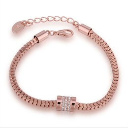 Wholesale 18k Solid Gold Clasp - 5pcs Charm Bracelet Snake Chain with Crystals 18K Solid Rose Gold Plated Lobster Clasp For Woman Wholesale Fashion Jewelry B071
