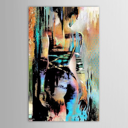 Wholesale Abstract Modern Figure Painting - Framed Hand Painted Modern Abstract Graffiti Nude Girl Art painting On High Quality Canvas for Home Wall Decor size can be customized