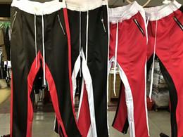 Wholesale Harem Pants Plaid Man - 2017 mens jumpsuit urban clothing Fear of God FOG track pants side zipper sweatpants jogger men sporting pants red black white M-XL