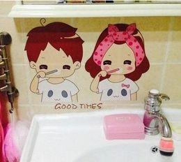 Wholesale Bathroom Cartoon Tiles - A pair of lovely warm waterproof glass bathroom tile stickers home decor decoration fashion creative Wall sticker Goodtimes