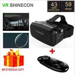 Wholesale Glasses Goggles Iphone - Wholesale- Vrbox Shinecon Virtual Reality Lunette 3D Glasses Google Cardboard 2.0 Goggles VR Box Remote Gamepad for iPhone Samsung Android