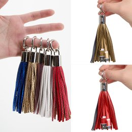 Wholesale Ring Data - Fashion Tassels Charging Data Cable Portable Key Ring Micro USB Short Bag Decoration Chain Sync Quick Charge Cords Line For Samsung CAB200