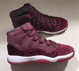 Wholesale Velvet Sneakers - High Quality 11 11s Velvet Heiress Flowers Pattern Men Basketball Shoes 11 Velvet Wine Red Night Maroon Sports Sneakers With Shoes Box