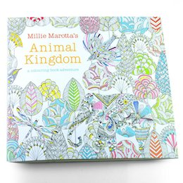 Wholesale English Books For Children - 24 Pages Animal Kingdom English Edition Coloring Book For Children Adult Relieve Stress Kill Time Painting Drawing Book